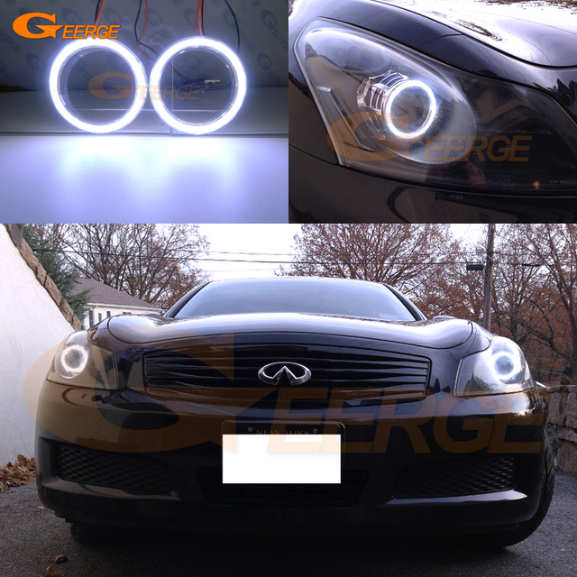 For Infiniti G35 G37 2007 2008 2009 Xenon Headlight Excellent Ultra Bright Illumination Cob Led Angel Eyes Kit Halo Ring