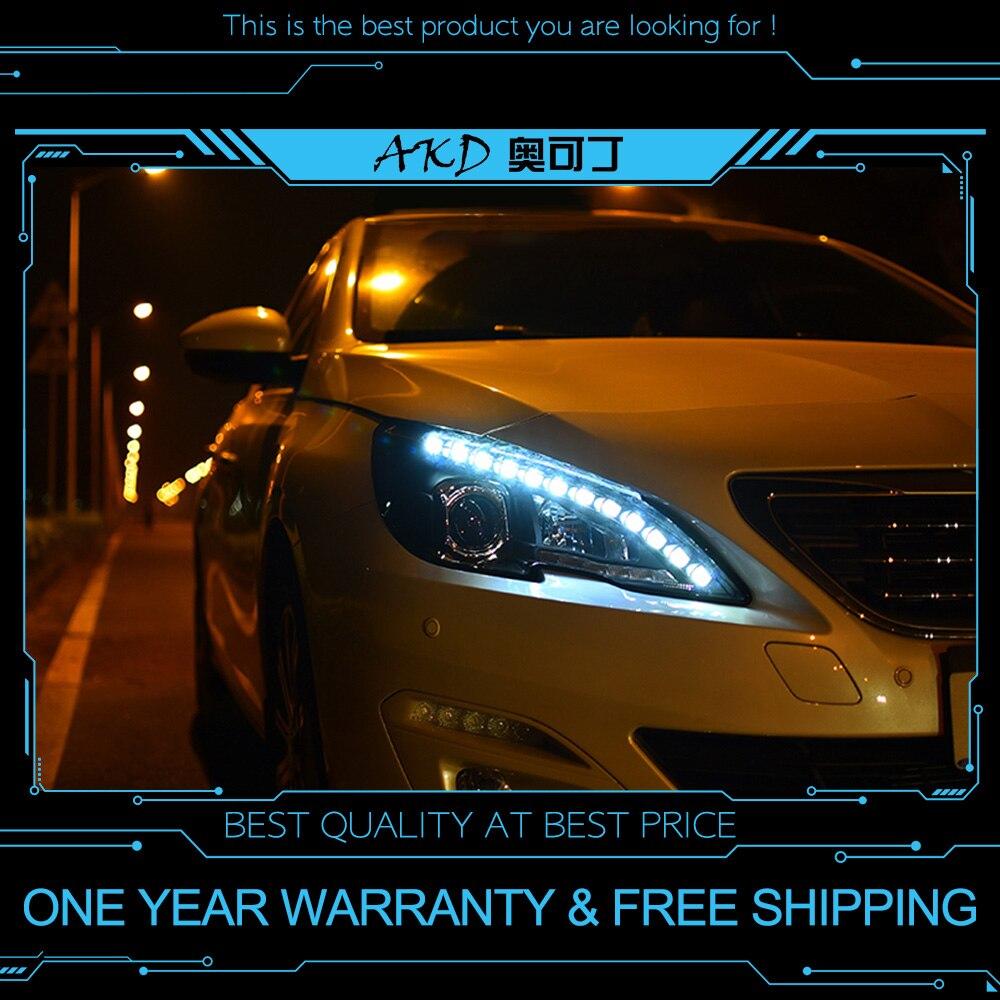 AKD tuning cars Headlight For Peugeot 408 Headlights LED DRL Running lights Bi Xenon Beam Fog lights angel eyes Auto levels