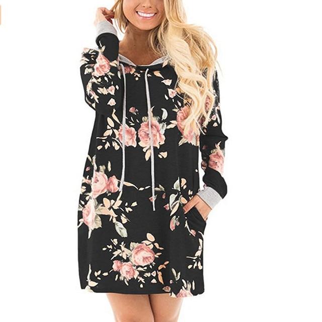 d9a6a533a Mulheres Floral Impresso Casaco Com Capuz Moletom Com Capuz Preto Camisola  Longa Vestido 2017 Meninas Hoodies