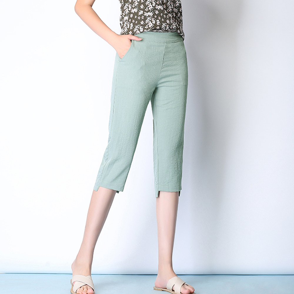 New 2019 women summer cropped trousers ice silk cotton linen pencil   pants     capri     pants   plus size 4XL 5XL casual   pants