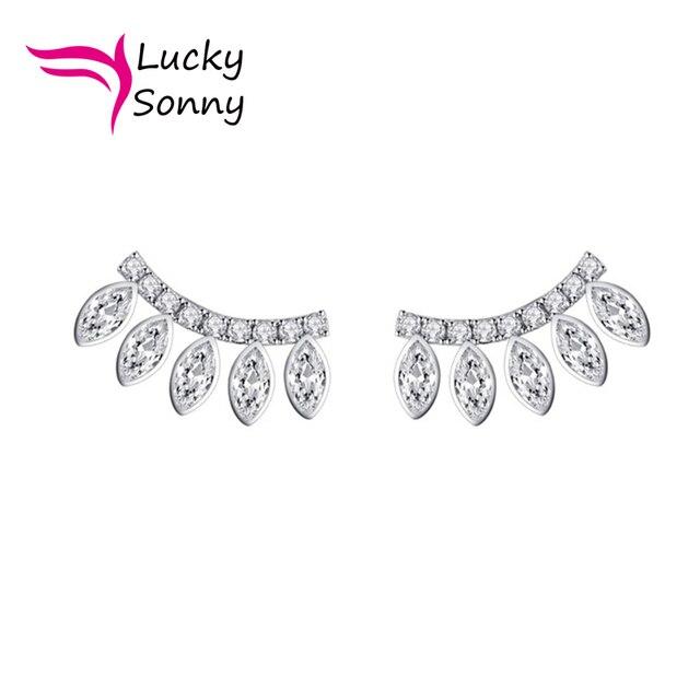 61508cfee European Fashion Female Bijoux Summer Style Ear Cuff Piercing Clip Earrings  Jewelry 925 Sterling Silver Cubic
