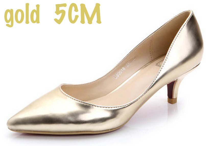 2015 33 41 Cute Low Heel Shoes for women Gold Pumps Sliver White ...
