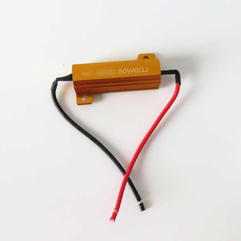 WLJH 2x 50W 6ohm Led Load Resistor H1 H3 H4 H7 H8 H11 9005 9006 1156 1157 HID HeadLight DRL Fog Light Wiring Canceller Decoder