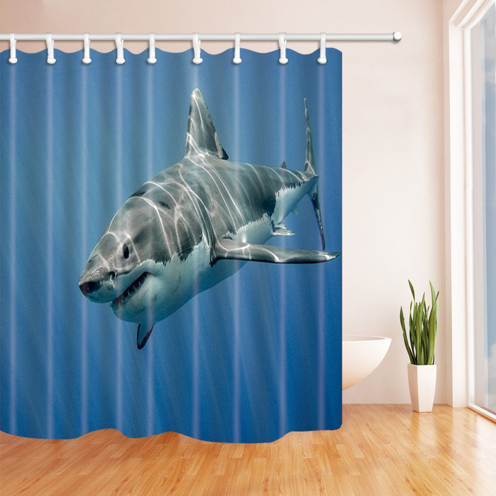 Picture It On Canva Big white shark Bathroom Decor Shower Curtain ...