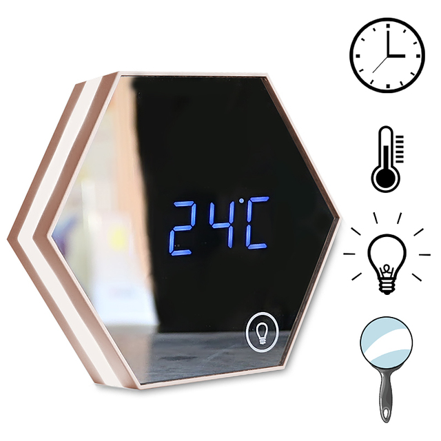 Usb Mirror Digital Alarm Clock Bedroom Bathroom Night Light Wall Mount Table Led Lamp Makeup