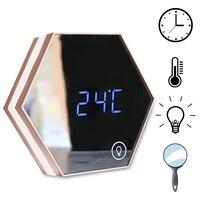 USB Mirror Digital Alarm Clock Bedroom Bathroom Night Light Wall Mount Table LED Lamp Makeup Mirror Muti Function Beauty Tool