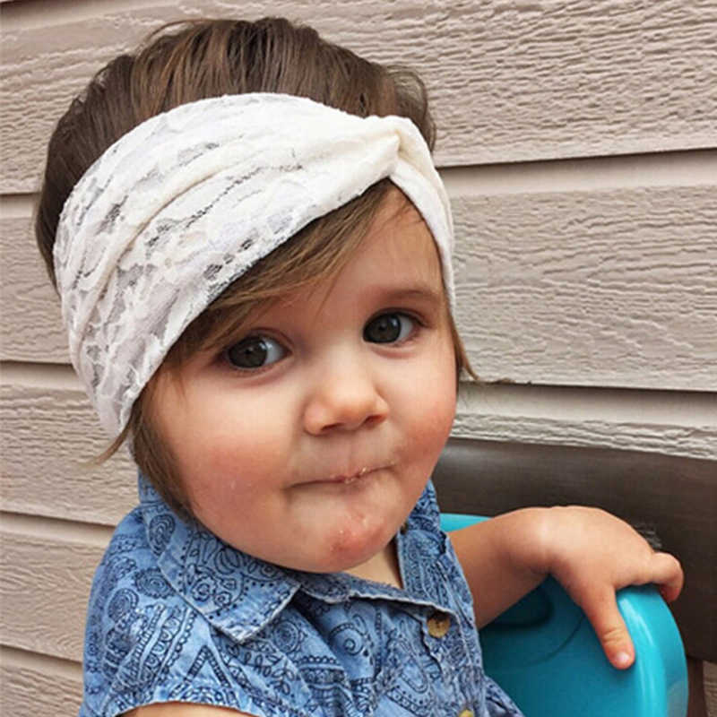 54b07293532 1 PC Newborn Girls Top knot Turban Headband Cute Kids Lace Bow Hair  Accessories Elastic Hair