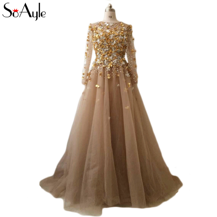 SoAyle Real Picture Vestidos de festa 2017 Prom Dresses A Line Long Sleeves Champagne  Beading Flowers Gorgeous Women s Dress-in Prom Dresses from Weddings ... 3bd8c5322c11