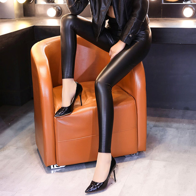 Thread waist was thin outer wear   leather pants female trousers autumn thin section tight stretch PU leather pants feet