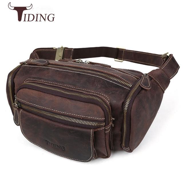 2e6a52ce61 Tiding Hot Crazy Horse Leather Waist Bag Men Vintage Fanny Pack Leather Bum  Bag Pillow Belt