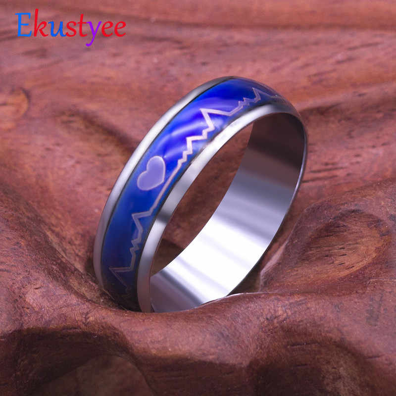 2019 New Mood Ring Changing Color Heartbeat Ring ECG Ring Colorful Discoloration Couple Ring