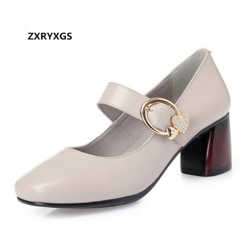 2019 Neuestes Design Heißer 2019 Neue Frühling Quadratischen Kopf Echtem Leder Schuhe Frauen Schuhe Elegante High Heels Strass Metall Schnalle Mom Mode Schuhe