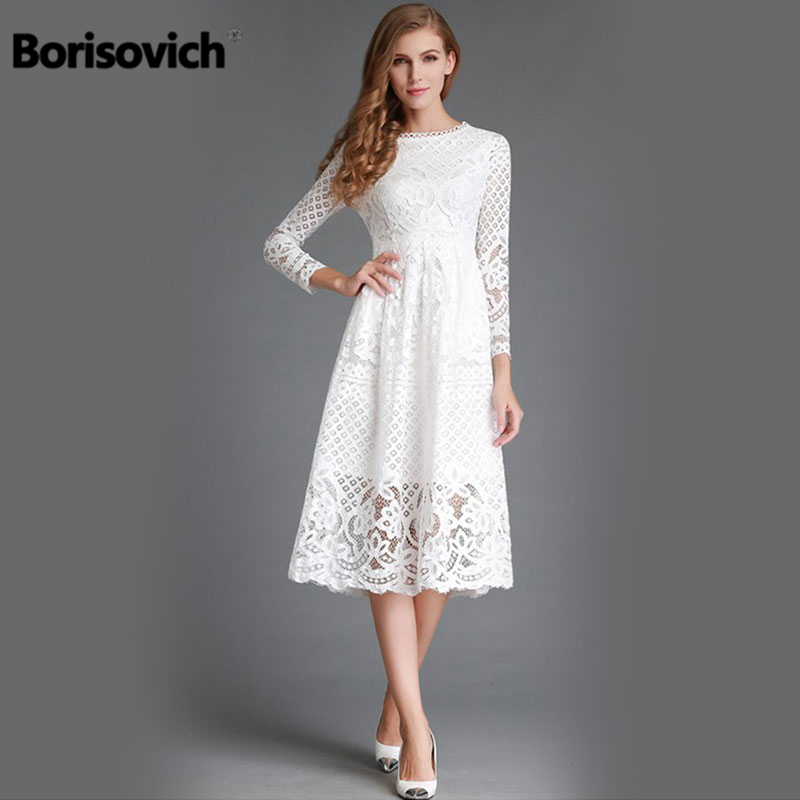 New 2018 Autumn Fashion Hollow Out Elegant White Lace Elegant Party Dress  High Quality Women Long Sleeve Casual Dresses M369 211b4bf77777