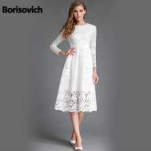 New 2018 Autumn Fashion Hollow Out Elegant White Lace Elegant Party Dress High Quality Women Long Sleeve Casual Dresses M369