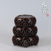 Черный Catalpa дерево с круговой барабан в форме ваза будды нефрита печать База красный твердый камень украшения резьба по дереву кронштейн