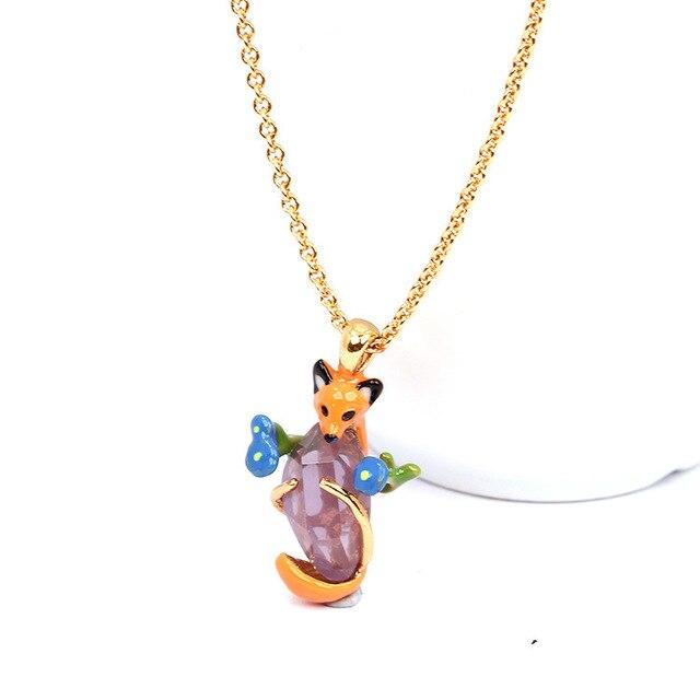 Nereides LES Official Website Fox Jewel Leaf Necklace Enamel Glazed Ornament Jewelry Pendant