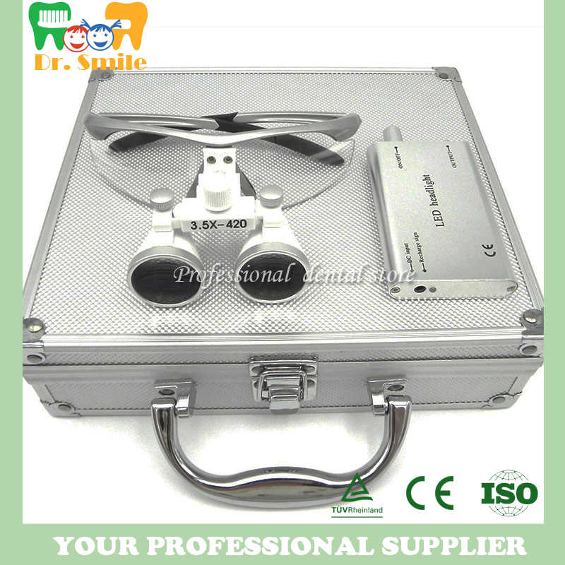 D  loupes  magnifying glasses dental and surgical loupes with head light packed in aluminium box