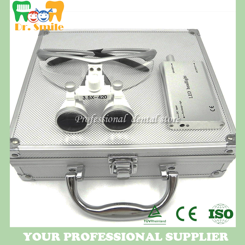 D loupes magnifying glasses dental and surgical loupes with head light packed in aluminium box promotion 5pcs 100