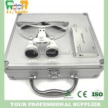 D lupas de aumento, lupas dentales y quirúrgicas con luz para la cabeza embaladas en caja de aluminio