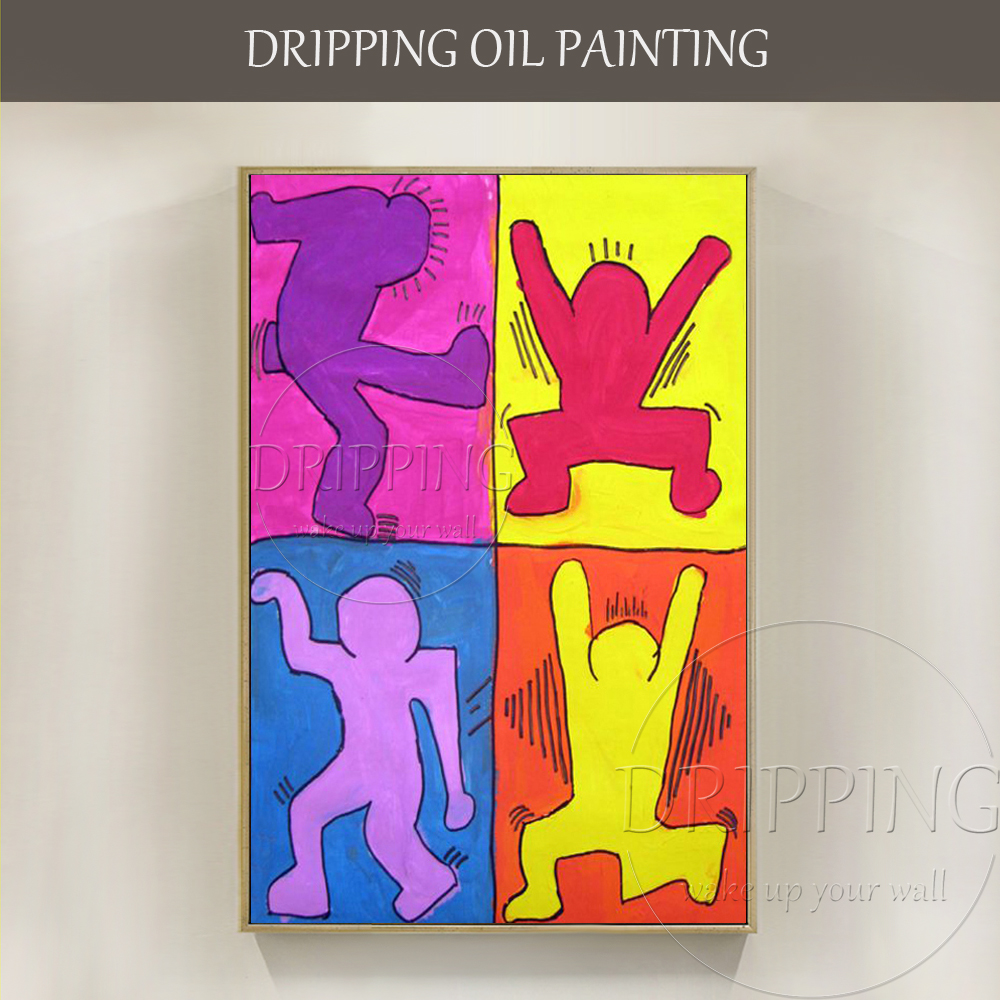 Simple Design Handmade Funny Wall Art Panel Painting Hand painted Abstract Funny Figures Oil Painting for Living Room Decoration