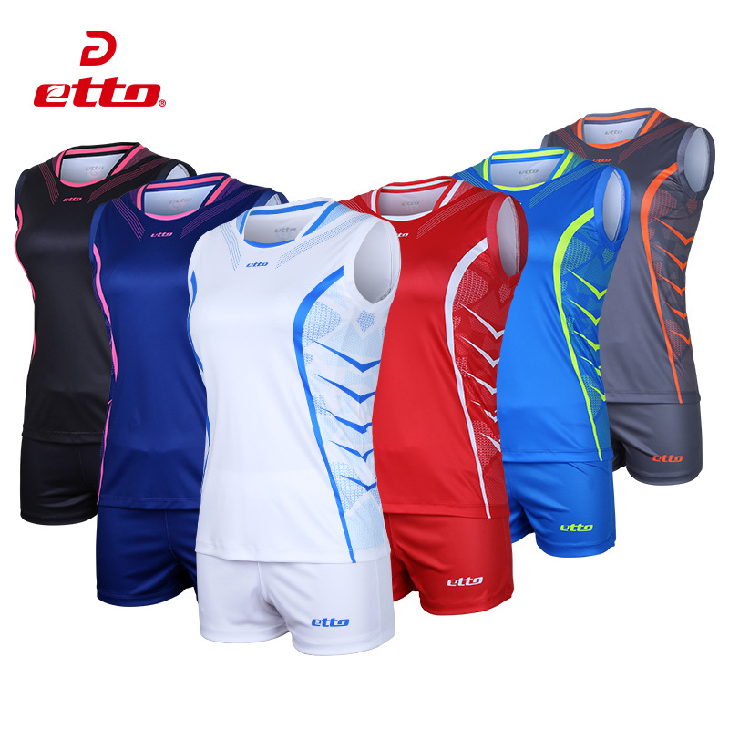 Etto Professional Volleyball Team Suits For Women Quick Dry Sleeveless Jersey Volleyball Set Female Match Tracksuit S~4XL HXB026