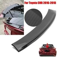 Carbon Fiber Look ABS Rear Door Wing Spoiler Trim For Toyota C HR CHR 2016 2018