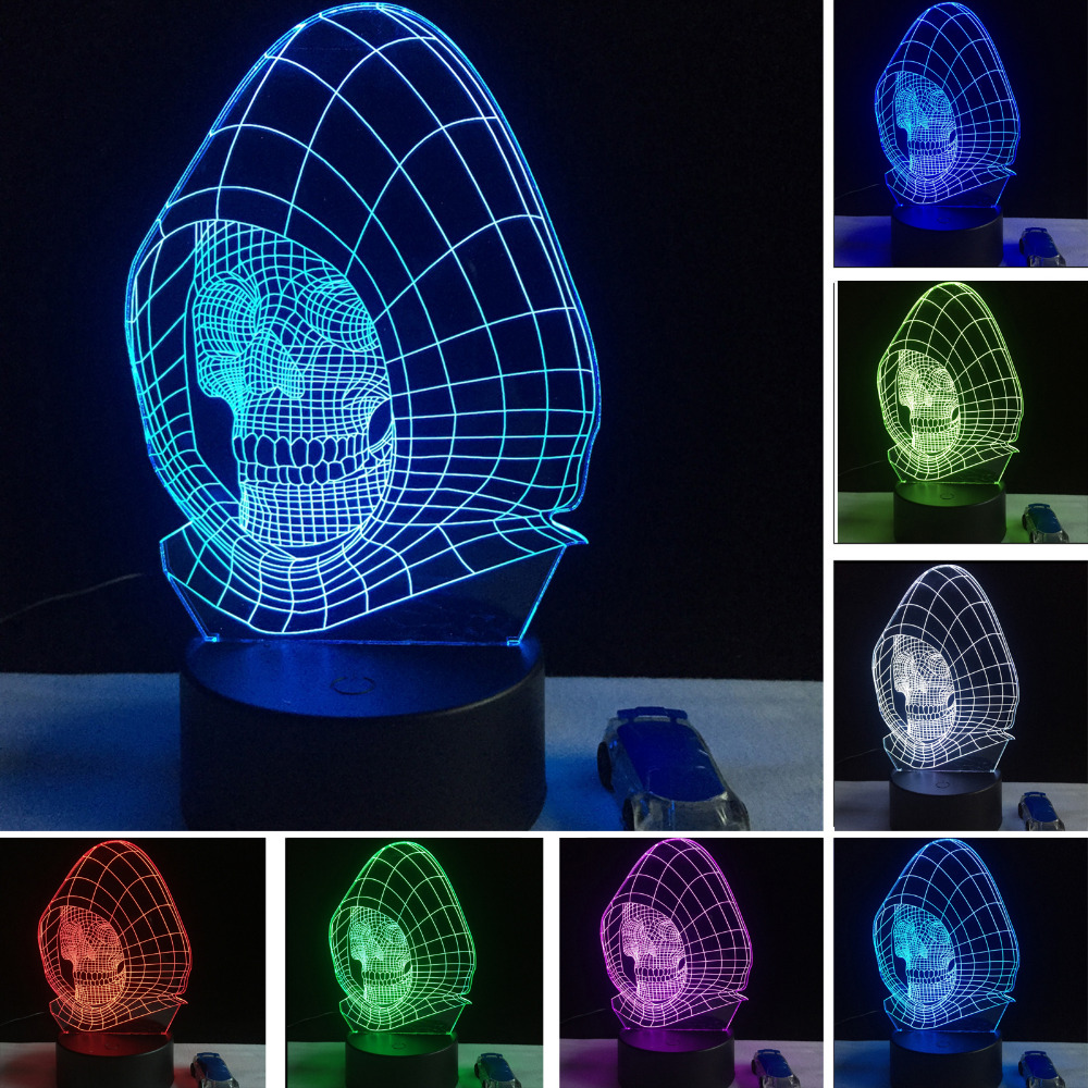 New 2018 figuire LED Night light lampara lava 3D Wizard Skull Vision Desk Lamp Child Kid Birthday Holiday Halloween Party Gifts 3d pop up the god of wealth creative gifts for birthday post card greeting cards holiday 1411r