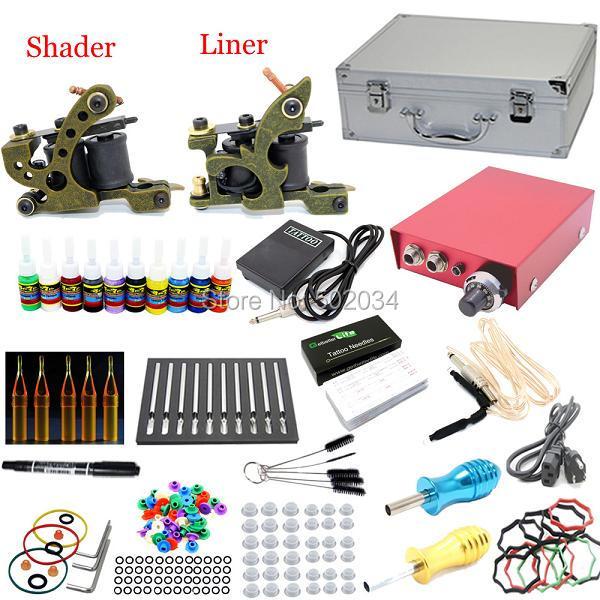 EE.UU. Despacho Principiante Kits de Tatuaje 2 ametralladoras 28 tintas de colores LCD de alimentación agujas Consejos Grips Establece suministros