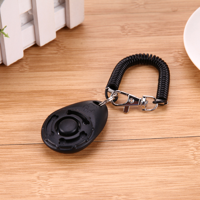 1pc Pet Trainer Pet Dog Training Dog Clicker Adjustable Sound Key Chain And Wrist Strap Doggy Train Click  2