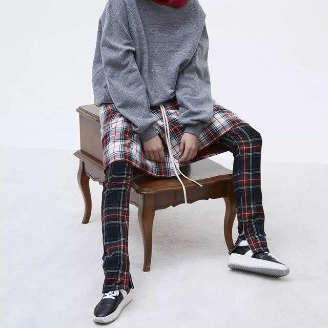 Vintage Scottish Plaid Joggers Pants Mens Tartan Track Pants Drawstring Ankle Strap Zip Patch Sweatpants Hip-hop 5