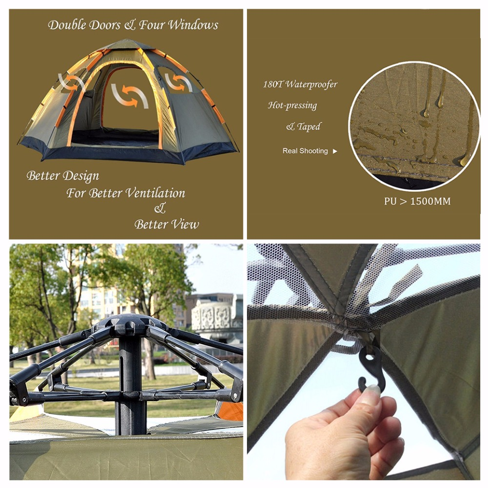 1 Persoons Pop Up Tent Us 86 78 2018 Wnnideo Instant Family 3 5 Person Tent Large Automatic Pop Up Tent Waterproof For Outdoor Camping Tent Hiking In Tents From Sports