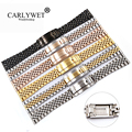 CARLYWET 20 22mm Großhandel Glide Lock Ersatz Armbanduhr Band Strap Armband Für Omega IWC Tudor Seiko Breitling