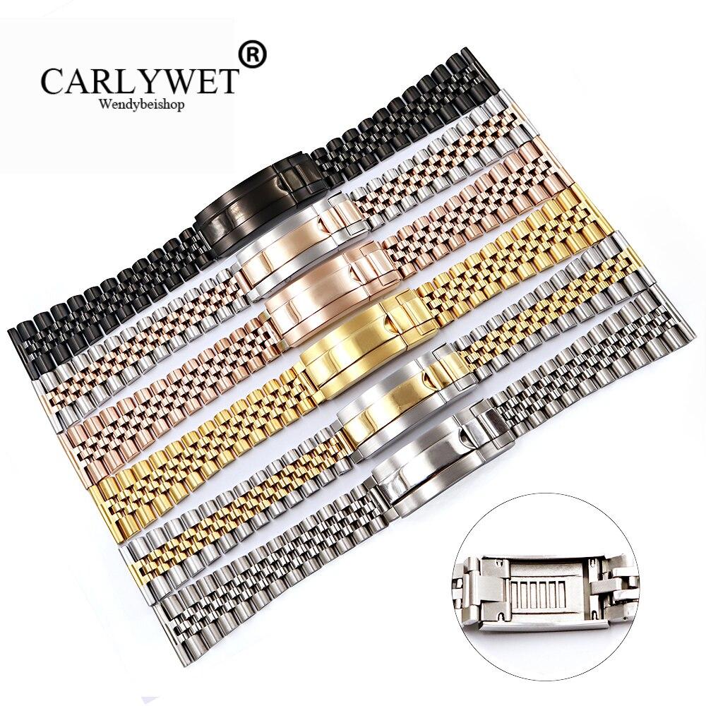CARLYWET 20 22mm Gros Glide Verrouillage Remplacement Montre-Bracelet de Courroie De Bande Bracelet Pour Omega IWC Tudor Seiko Breitling