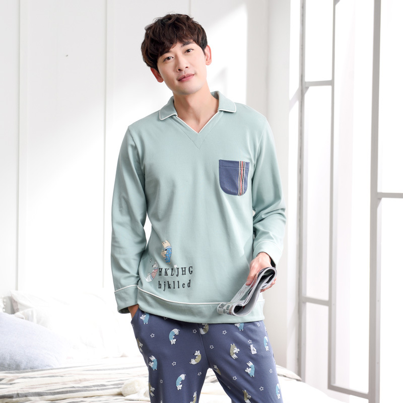 Men autumn cotton long sleeve trousers pajamas 2019 new two piece simple lapel cotton winter men pajama sets men pajamas(China)