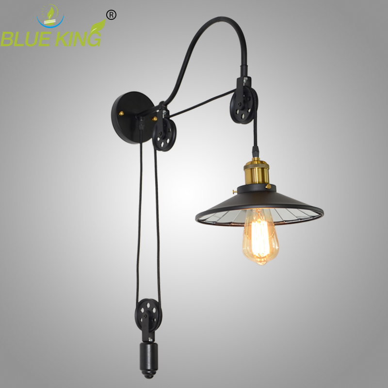 vintage Loft Antique iron Wall lamp Lift Retractable Pulley Wall Sconce Lighting for bedside Bar Cafe Light E27 110-240V modern lamp trophy wall lamp wall lamp bed lighting bedside wall lamp