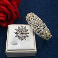 GODKI Fashion Luxury Super Shiny Stereo Flowers AAA Cubic Zirconia Women Width Bracelet Bangle And Ring