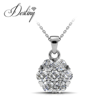 Desttny Jewellry flower 925 Silver necklace embellished with Swarovski Crystal DP0484(China)