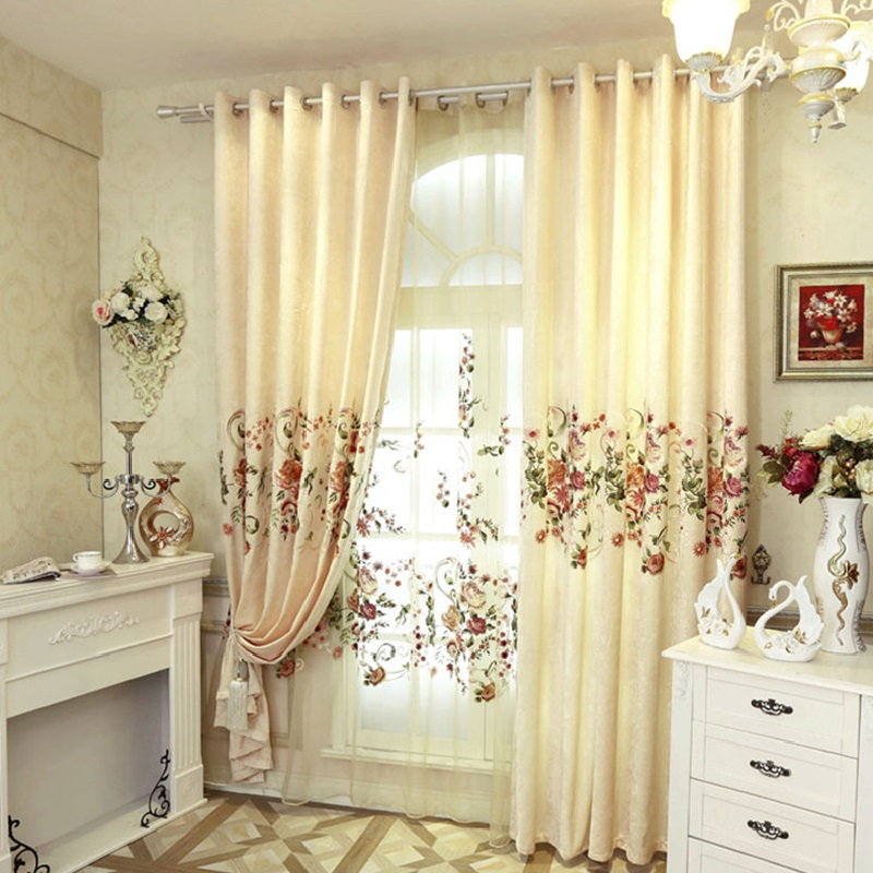 2018 NEW Luxury Curtains For Living Dining Room Bedroom High Grade Custom Chenille Embroidery Sheer Fabric Customize Cloth In From Home Garden On