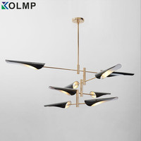 Modern salon chandelier lighting for living room 4/6/8 arms metal lampshade chandelier black/white kitchen luminaire led luster