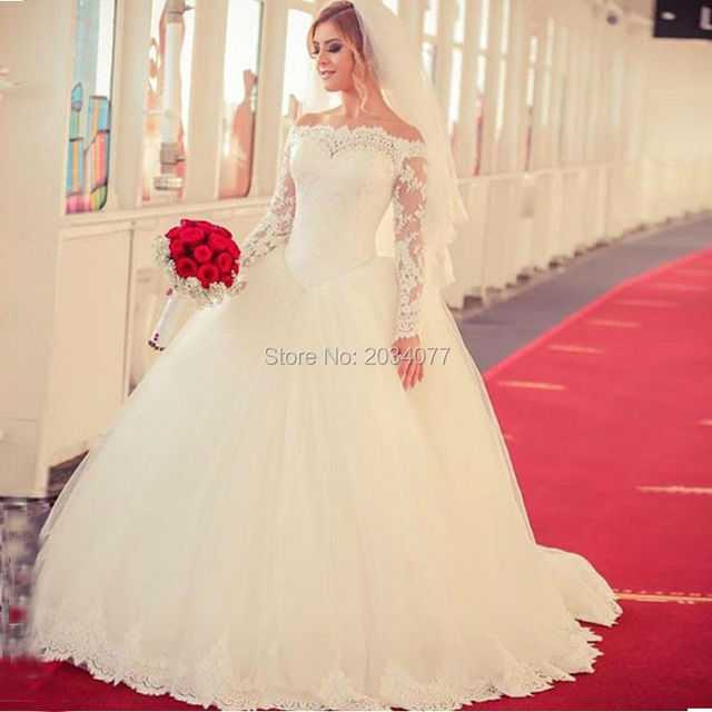 Plus Size Wedding Dress Long Sleeve Ball Gowns Puffy Bridal Gown ...