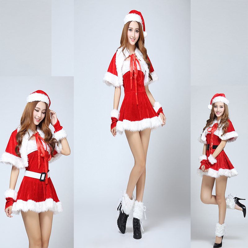 30048997e45 Hot New Fashion Gold Velvet Sexy Adult Santa Miss Dress Nifty Cute  Christmas Sweetheart Miss Halloween Cosplay Costume 6pcs Set-in Holidays  Costumes from ...