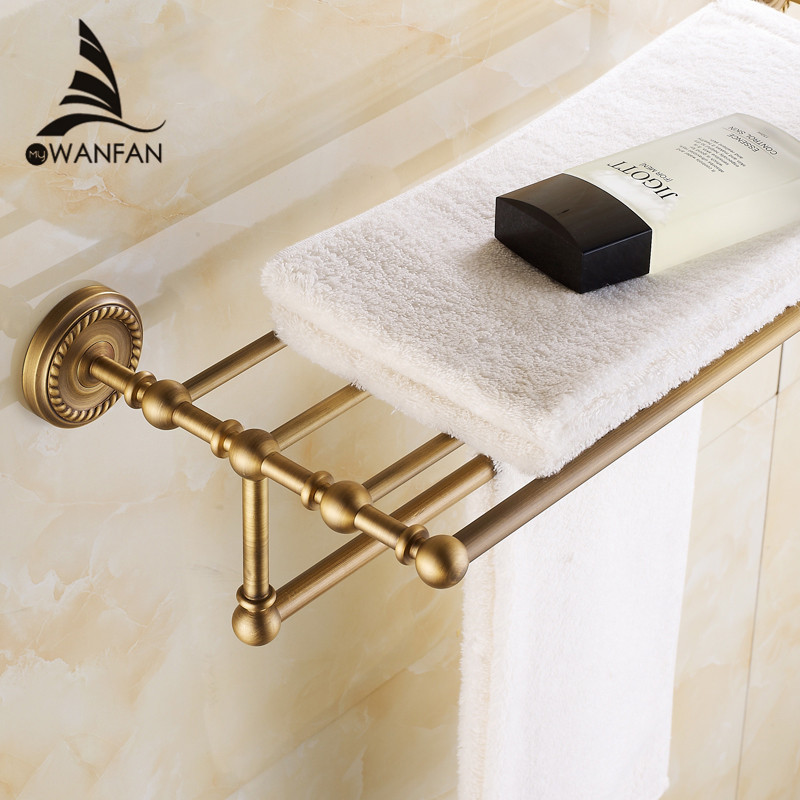 Bathroom Shelves 2 Tier Rails Antique Brass Towel Rack Bath Shelf Towel Holder Hangers Classic Home Deco Wall Towel Bars HJ-1312 whole brass blackend antique ceramic bath towel rack bathroom towel shelf bathroom towel holder antique black double towel shelf