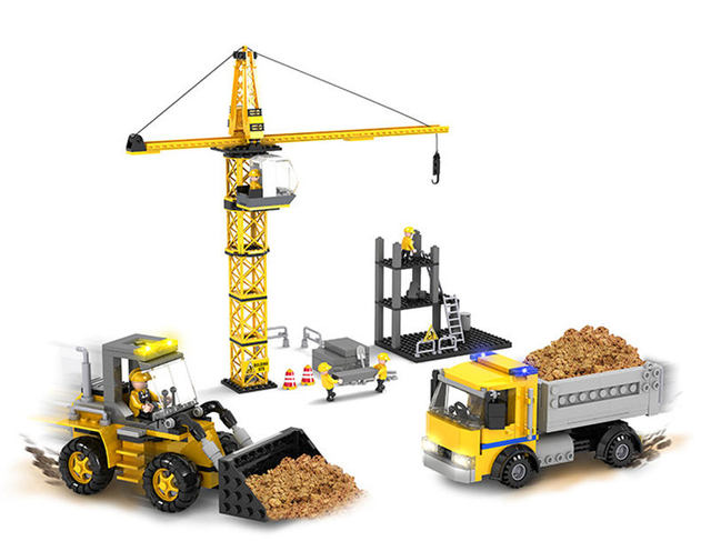 Construction site toys mine the
