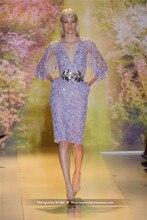 2017 Zuhair Murad Design Abendkleid Luxus Perlen Ärmellose Tüll V-ausschnitt Kleider Cocktail Party Robe De MariageMY1227-09