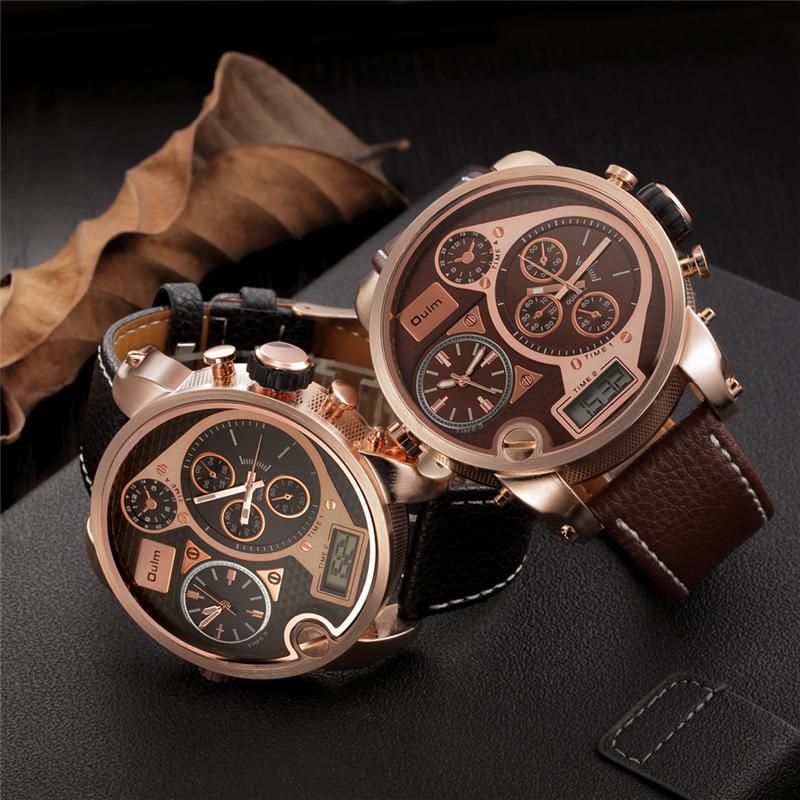 Prix pour Oulm double affichage montres numérique analogique homme en cuir de quartz-montre énorme grand cadran hommes montres militaires relogio masculino