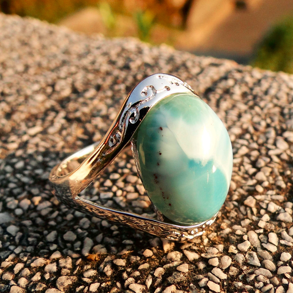 Genunie Natural Blue Larimar Crystal 12.7mm*15.7mm Solid 925 Sterling Silver Women Ring for Lover/Wife/Mom/Grandma/Granny 6/7/8 fire granny 2018 11 20t20 00