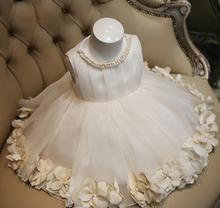 Little Girl Party Girl Princess Dress Wedding White Sleeveless Appliques Pearl Collar Ball Gown Formal  Bridesmaid Dresses