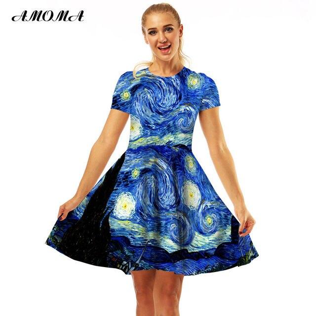 6a53ca3613 AMOMA Women Slim Fit Van Gogh Starry Night Print Vintage Dress Short Sleeve  Casual Summer A-Line Midi Dress