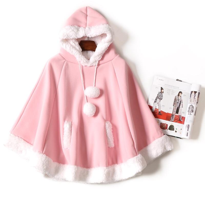 Spring New Women Kawaii Cape Japanese Batwing Sleeve Cute Girls Hood Harajuku Cloak Fleece Fresh Hoodies Young Girls Students