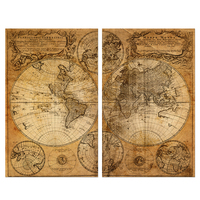 3 Piece Retro Global World Map Paintings Posters Vintage Map of The World Canvas Wall Art Home Decoration for Living Room
